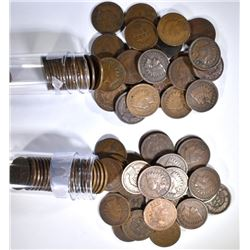 1901 & 1902 CIRC INDIAN CENTS ROLLS ( 100 )  COINS