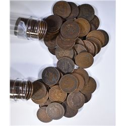 1903 & 1905 CIRC INDIAN CENT ROLLS ( 100 COINS )