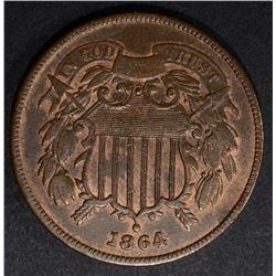1864 2-CENT PIECE CH BU RB
