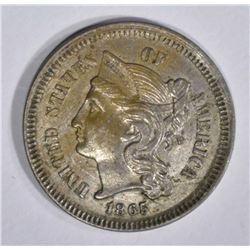 1865 3-CENT NICKEL, AU