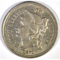 1871 3-CENT NICKEL, CH BU SCARCE!
