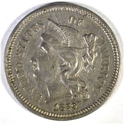 1879 3-CENT NICKEL, AU+