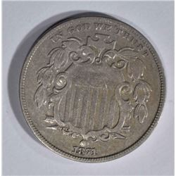 1871 SHIELD NICKEL, AU KEY DATE