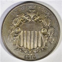 1874 SHIELD NICKEL, CH BU