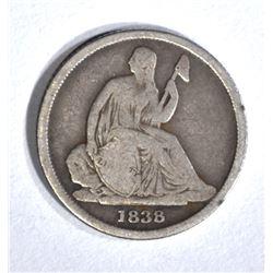 1838-O SEATED DIME, FINE