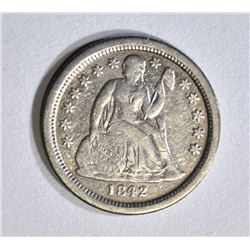 1842-O SEATED DIME, XF KEY