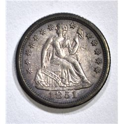 1851-O SEATED DIME, VF+ SCARCE