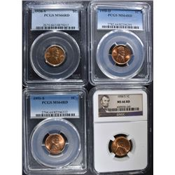 4 GRADED LINCOLN CENTS: 1938-S