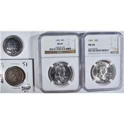 LOT: 2-NGC MS64 FRANKLIN 50c 1955 &