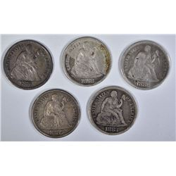 5 SEATED DIMES; 1887-S XF, 1883 VG,