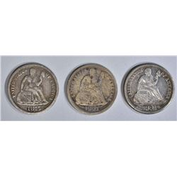 3 SEATED DIMES; 1875 CC VF, 1891-S XFAU