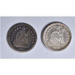 1841-O GOOD & 1842-O VF SEATED DIMES