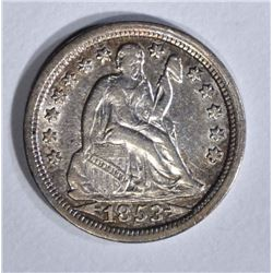 1853 ARROWS SEATED DIME XF/AU