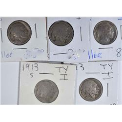 ( 5 ) 1913-S TYPE 1 BUFFALO NICKELS