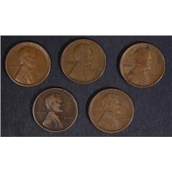 ( 5 ) 1910-S LINCOLN CENTS F/VF