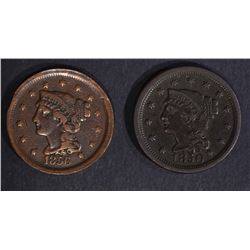 1850 XF & 1856 VF+ LARGE CENTS