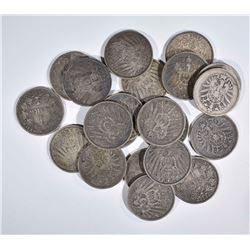 21 1MARK GERMAN SILVER COINS LATE