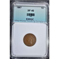 1867 INDIAN CENT, EMGC XF