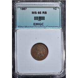 1887 INDIAN CENT, EMGC GEM BU RB