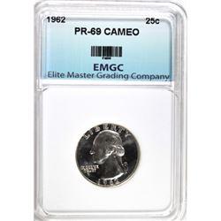 1962 WASHINGTON QUARTER, EMGC SUPERB GEM+ PF CAMEO