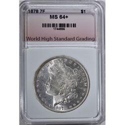 1878 7F MORGAN DOLLAR, WHSG CH+/GEM BU