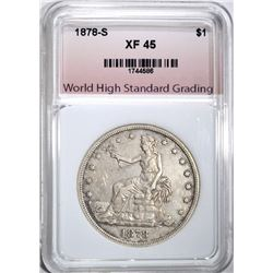 1878-S TRADE DOLLAR, WHSG XF/AU