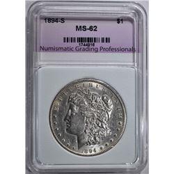 1894-S MORGAN DOLLAR, NGP BU