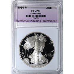 1994-P AMERICAN SILVER EAGLE, NGP PERFECT GEM PR