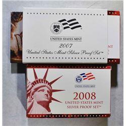 2007 & 08 U.S. SILVER PROOF SETS IN ORIG PACKAGING