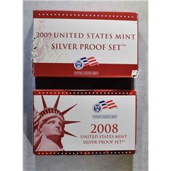 2008 & 09 U.S. SILVER PROOF SETS IN ORIG PACKAGING