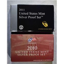 2010 & 11 U.S. SILVER PROOF SETS IN ORIG PACKAGING