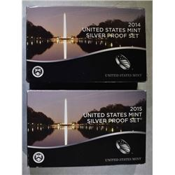 2014 & 15 U.S. SILVER PROOF SETS IN ORIG PACKAGING