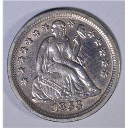 1853 NO ARROWS SEATED LIBERTY DIME  AU