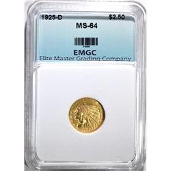 1925-D $2.50 GOLD INDIAN, EMGC CH/GEM BU
