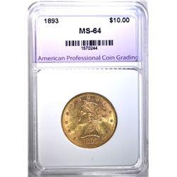 1893 $10.00 GOLD LIBERTY, APCG CH/GEM BU