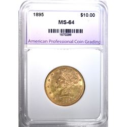 1895 $10.00 GOLD LIBERTY, APCG CH/GEM BU