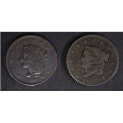 """1817 VG & 1839 """"BOOBY HEAD"""" FINE LARGE CENTS"""