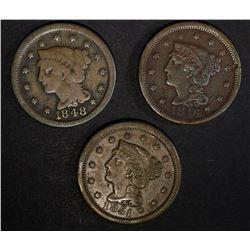 1851 VF, 48 GOOD & 46 VF dark LARGE CENTS