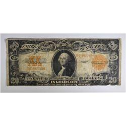 1922 $20.00 GOLD CERTIFICATE, FINE minor tear