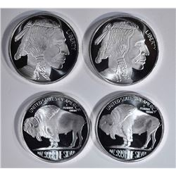4-INDIAN/BUFFALO ONE OUNCE.999 SILVER ROUNDS