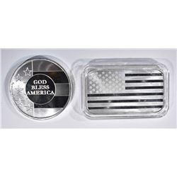 GOD BLESS AMERICA & U.S. FLAG 1oz SILVER PIECES