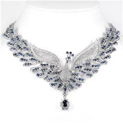GENUINE BLUE SAPPHIRE PEACOCK NECKLACE