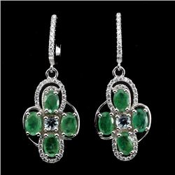 Natural Green Emerald 30.77 Ct Earrings