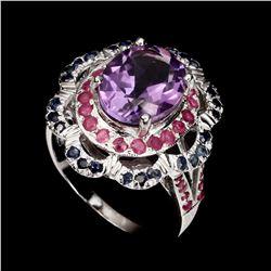 Natural 11x9 Mm Purple Amethyst Ruby Sapphire Ring