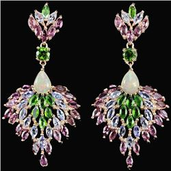 Natural TANZANITE RHODOLITE CHROME DIOPSIDE Earrings