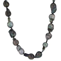 DOUBLE CERTIFIED TAHITIAN BLACK PEARL NECKLACE.