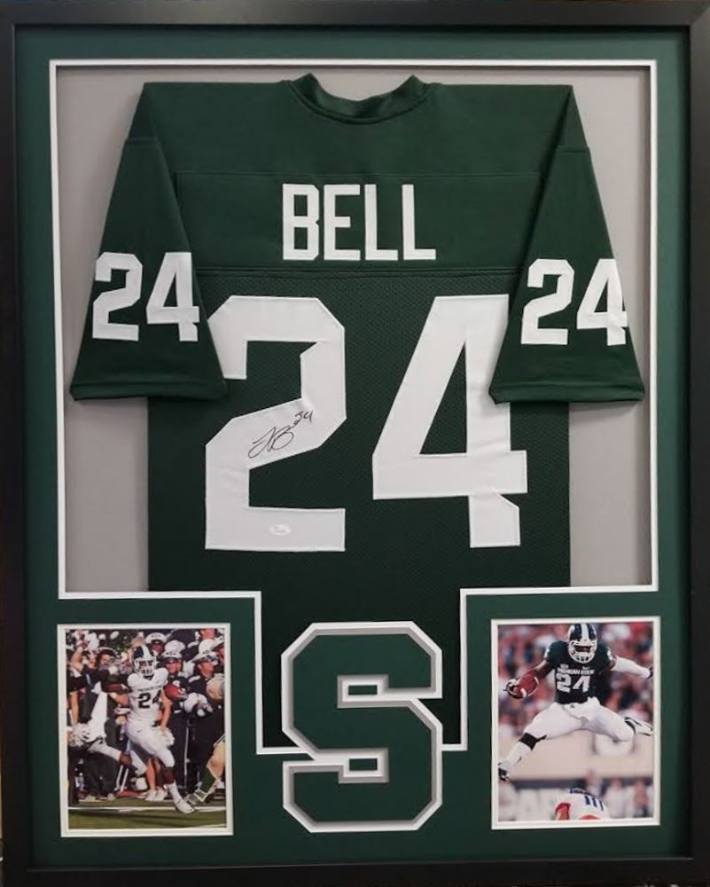 b79166e4e Image 1 : Le'Veon Bell Signed Michigan State Spartans 34x42 Custom Framed  Jersey (