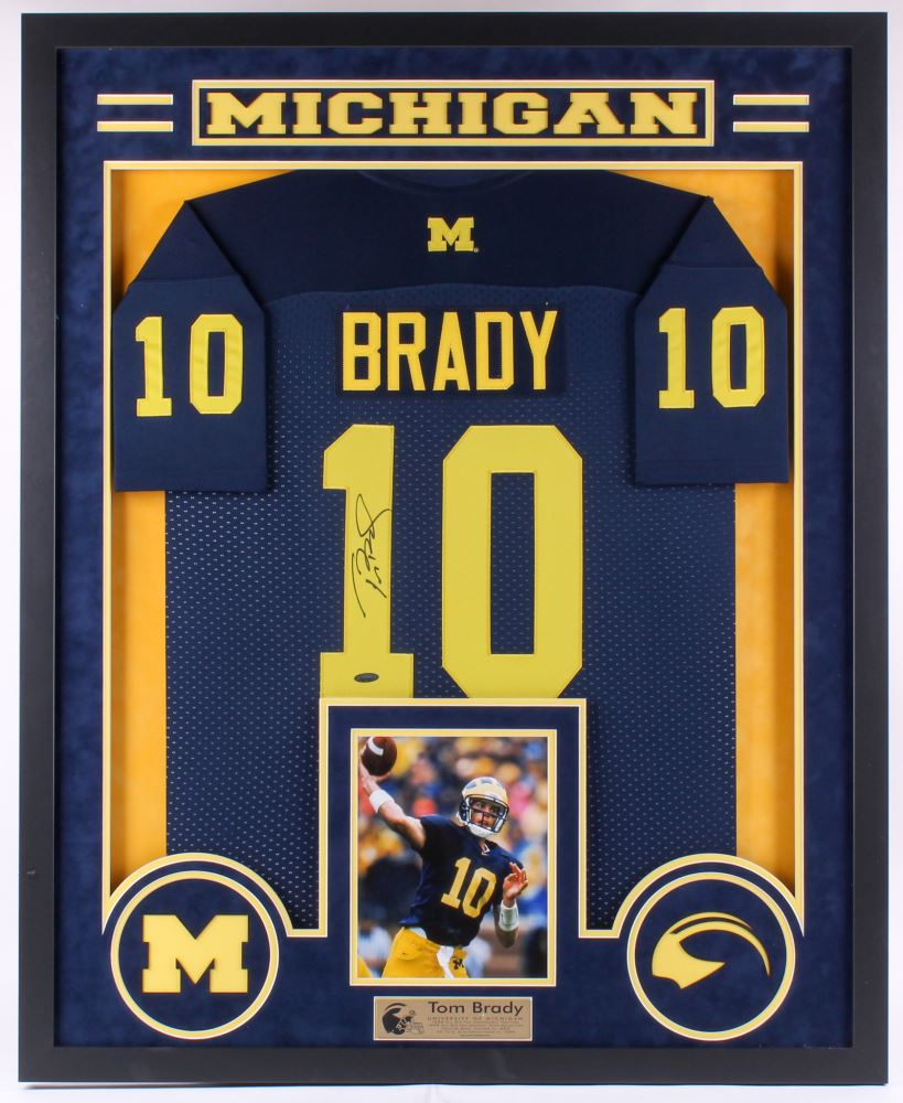 reputable site 74aa0 e9980 Tom Brady Signed Michigan Wolverines 34x42 Custom ...
