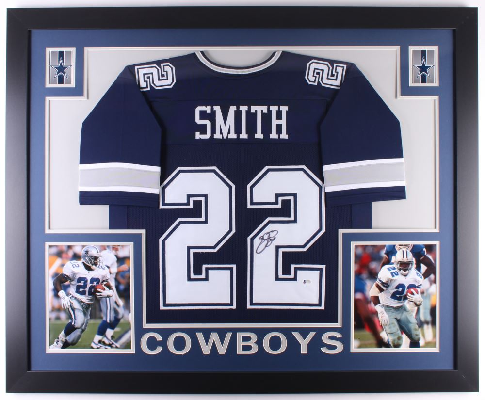 best service 866ce a1851 Emmitt Smith Signed Cowboys 35x43 Custom Framed Jersey ...