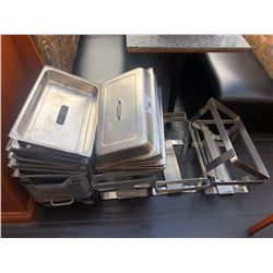 LOT OF ASSORTED CHAFING DISH PARTS, STANDS AND LIDS